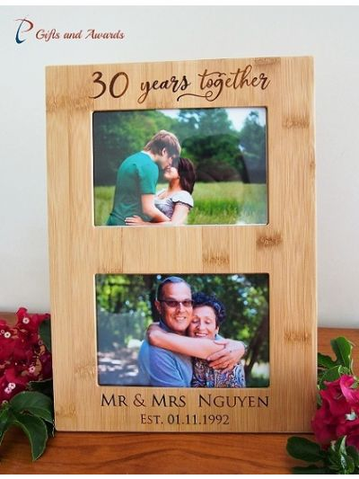 "Personalised Engraved Wall/Desk bamboo photo frame - hold two 4x6"" photos (horizontal)- Anniversary gift- Gift for couple- 30th Anniversary"