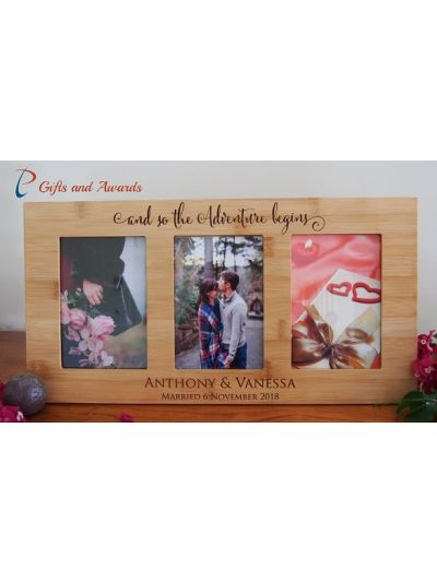"Personalised engraved wall/desk bamboo photo frame-hold three 4x6"" photos-Wedding Gift-Engagement Gift-Gift for couple- the adventure begins"