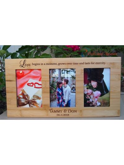 "Personalised Engraved Wall/Desk bamboo photo frame-hold three 4x6"" photos-Wedding Gift-Engagement Gift-Gift for couple- Love begins in a moment...."