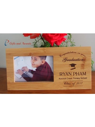 "Personalised Bamboo Engraved photo frame, hold 4x6""photo-Graduation frame-Graduation gift-Primary school graduation frame"