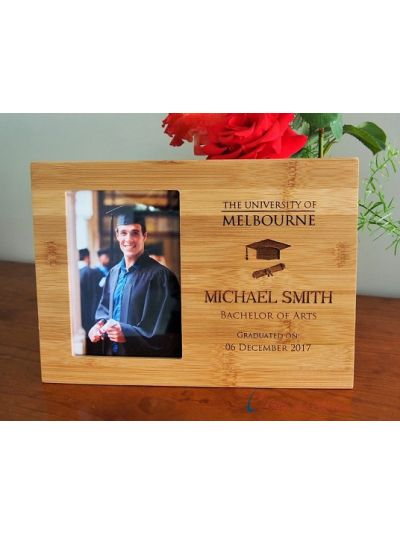 "CUSTOM ORDER for University graduation photo frame- Graduation frame- Graduation gift - Bamboo Engraved photo frame, hold 4x6""photo"