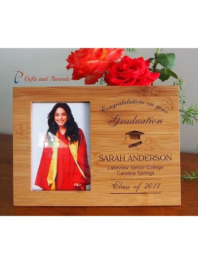 "Personalised Bamboo Engraved photo frame, hold 4x6""photo-Graduation frame-Graduation gift-High school graduation frame- Secondary graduation"