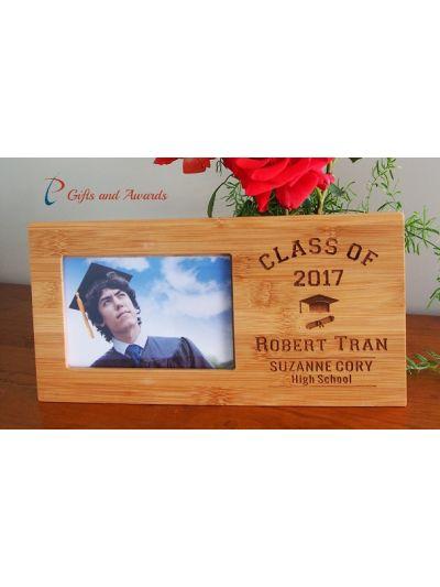 "Personalised Bamboo Engraved photo frame, hold 4x6""photo-Graduation frame-Graduation gift-High school graduation frame- Secondary graduation-style 2"