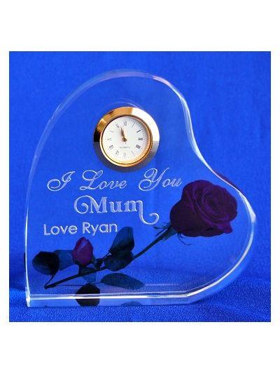 Personalised engraved crystal heart shape desk clock - I love you, Mum