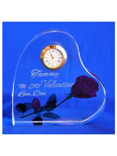 Personalised engraved crystal heart shape desk clock - Be My Valetine