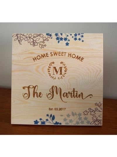 Personalised Solid Pine Wooden Decoration -  Square shape 25x25x1.2cm - Printing and Engraving - Home Sweet Home