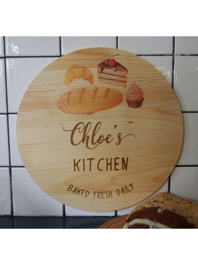 Personalised Printed and Engraved Solid Pine Wooden Decoration - Round shape diameter 30cm, thickness 1cm - Chloe's Kitchen, baked fresh daily