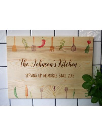 Personalised Engraved and Printed solid pine wooden decoration - rectangular shape 36x27x1.2cm - The Johnson's kitchen, serving up memories