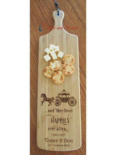 Personalised Bamboo Engraved Long Paddle Serving Board 59x17cm-Wedding gift-Wedding present- and they lived happily ever after