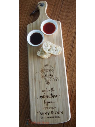 Personalised Bamboo Engraved Long Paddle Serving Board 59x17cm- Wedding gift- Engagement gift- and so the adventure begins...-Hot air balloon image