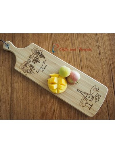Personalised Bamboo Engraved Long Paddle Serving Board 59x17cm -Wedding gift- Anniversary gift- Gift for the couple- Wine, cheese & grapes