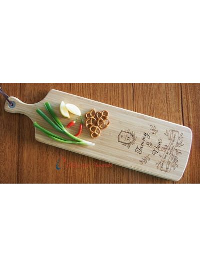 Personalised Engraving Bamboo Long Paddle Cheese Board -Wedding gift- Engagement gift- Gift for the couple- and so the adventure begins-Banner style