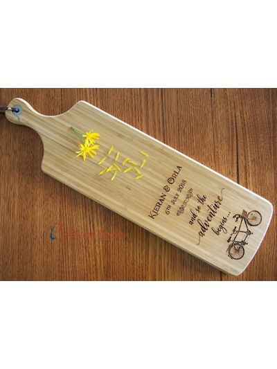 Personalised Bamboo Engraved Long Paddle Serving Board 59x17cm- Wedding gift- Engagement gift- and so the adventure begins...-Bicycle image
