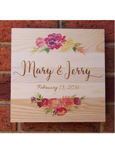 Personalised Solid Pine Wooden Decoration - Square shape 25x25x1.2cm - Valentine's Day /  Anniversary / Wedding