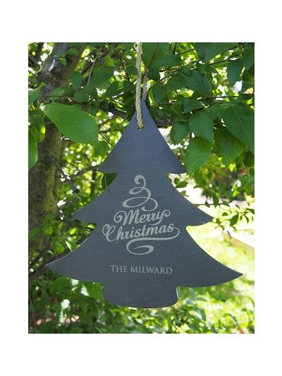 Personalised Slate Christmas Tree Sign - Merry Christmas