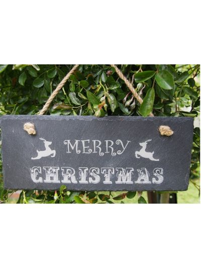 Slate Rectangle Hanging Sign - Merry Christmas - Design 2