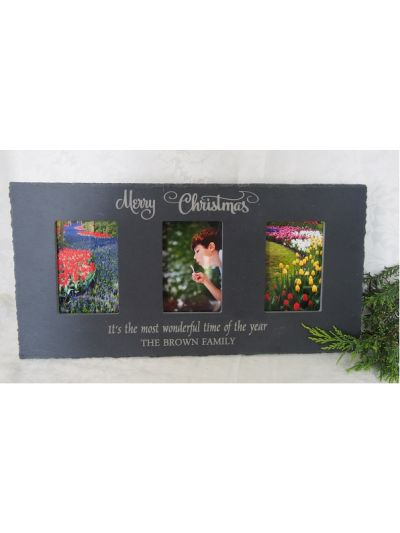 "Personalised Slate Three Photo Frame - hold 3 of 6x4"" or 15x10cm photos - Merry Christmas"
