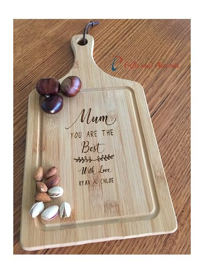 Personalised Engraved Bamboo Paddle Serving Board - MUM, You're the best - Gift for Mum & Grandma / Birthday gift for Mum