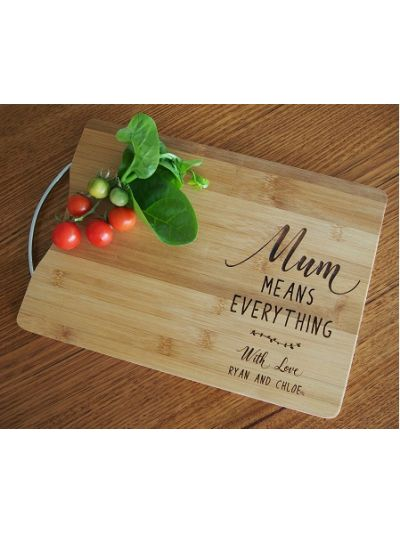 Personalised Engraved Bamboo rectangular chopping board with stainless steel handle - 35x25x1.5cm - Mum means everything - Gift for Mother's Day or Mum's birthday