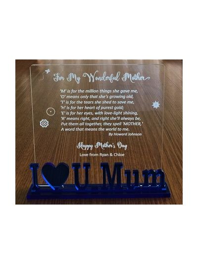 Personalised Engraved Acrylic Plaque - For My Wonderful Mother - size 19 x 18cm - Gift for Mother's Day