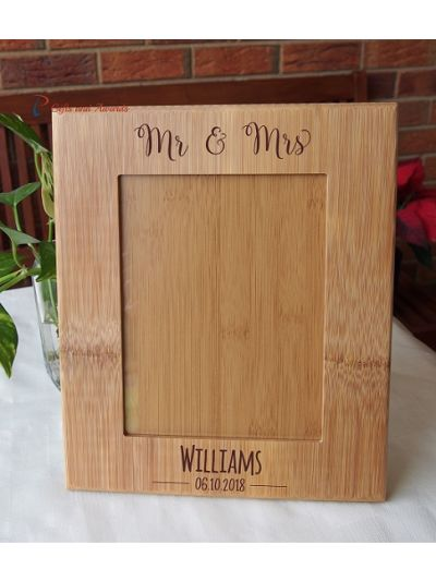 """WALL/DESK BAMBOO PHOTO FRAME -Personalised engraving - holds 6x8"""" photo - Wedding gift / Anniversary Gift / Gift for Couple-Mr & Mrs"""