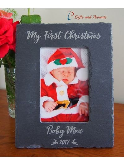 "Personalised Engraved Slate photo frame hold 4x6""photo - Christmas gift for kid- Christmas gift for baby- My first Christmas"