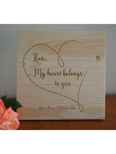 Personalised Solid Pine Wooden Decoration - My heart belongs to you