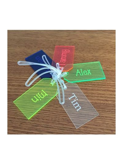 Personalised Acrylic rectangular bag tag - First name only - Set of 4