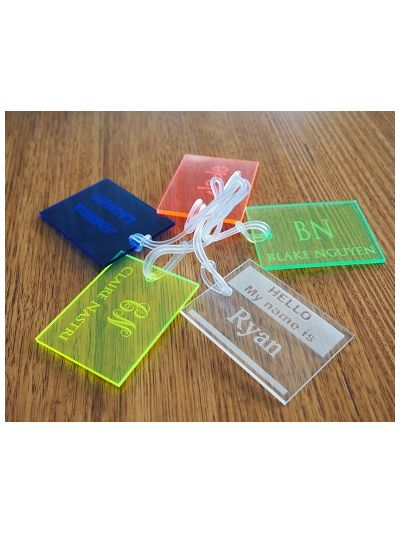 Personalised Acrylic rectangle bag tag - Full name - Set of 4