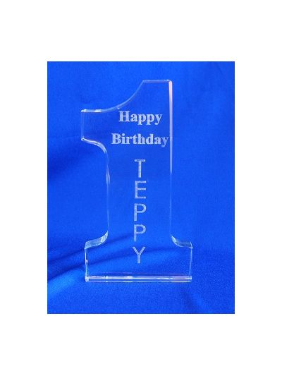 Personalised Crystal Engraved Number one - Happy 1st birthday