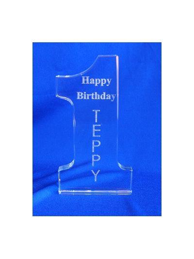 Personalised Crystal Engraved Number one - Happy 1st birthday