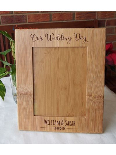 """WALL/DESK BAMBOO PHOTO FRAME -Personalised engraving  - holds 6x8"""" photo - Wedding gift / Anniversary Gift / Gift for Couple- Our Wedding Day"""