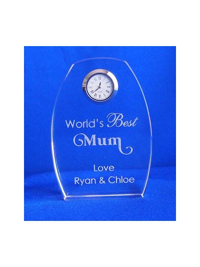 Crystal desk clock - Personalised engraved wording - World's best Mum