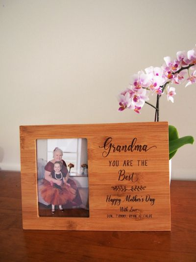 """Personalised Bamboo Engraved photo frame, hold4x6""""photo- Gift for Mum- Gift for her- Mothers day gift- Birthday gift- Grandma you are the best"""