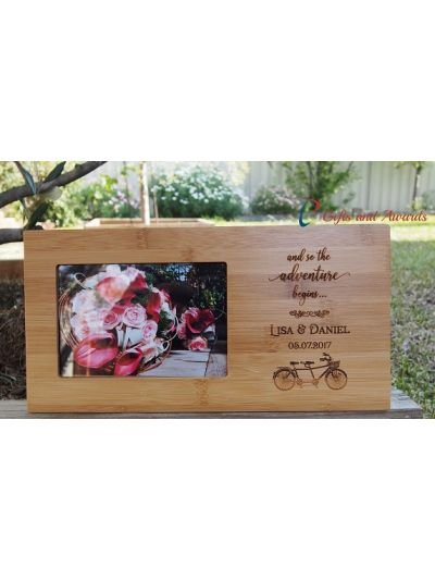 """Personalised Engraved bamboo photo frame, hold 4x6"""" photo - Wedding gift - Engagement gift - Gift for the couple - and so the adventure begins"""