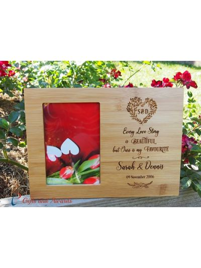 """Personalised Engraved bamboo photo frame, hold 4x6"""" photo - Wedding gift - Anniversary gift - Valentines gift - Gift for the couple - Every love story is beautiful"""