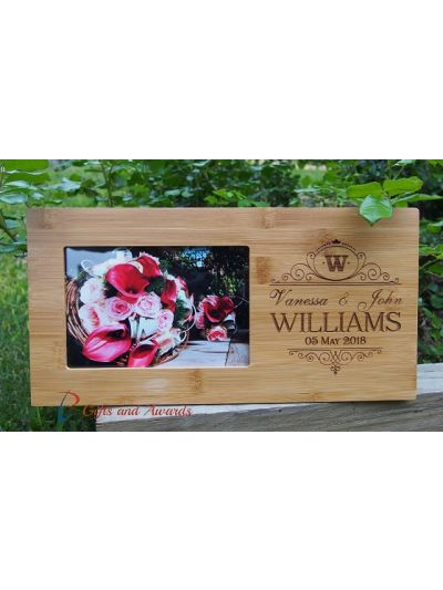 """Personalised Engraved bamboo photo frame, hold 4x6"""" photo - Wedding gift - Anniversary gift - Valentines gift - Gift for the couple"""
