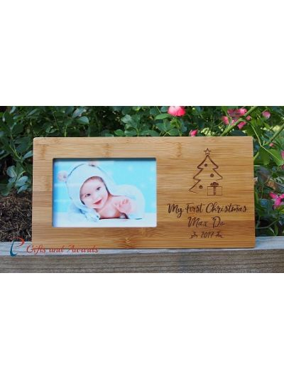 "Personalised Engraved Bamboo photo frame, 4x6""photo - Christmas gift for baby - Christmas gift for kid- My first Christmas"