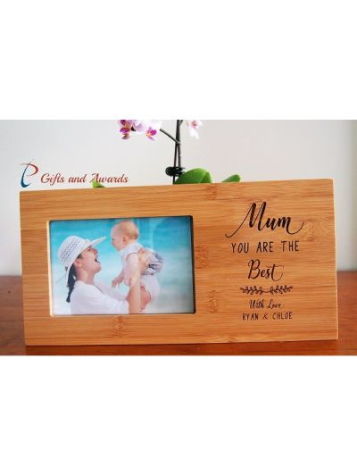 "Personalised Bamboo Engraved photo frame hold 4x6""photo- Gift for Mum- Gift for her- Mothers day gift- Birthday gift- Mum you are the best"