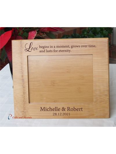 """WALL/DESK BAMBOO PHOTO FRAME -Personalised engraving - holds 8x6"""" photo - Love begins in a moment,.... - Wedding gift / Anniversary Gift / Gift for Couple"""