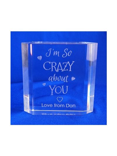 PERSONALISED CRYSTAL CUT BOOK BLOCK - I'm so crazy about you