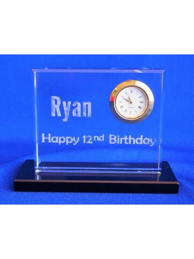 Personalised Engraved Crystal retangular shape with black base desk clock - Happy birthday