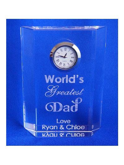 Personalised rectangular crystal desk clock - Engraved wording - World's Greatest Dad