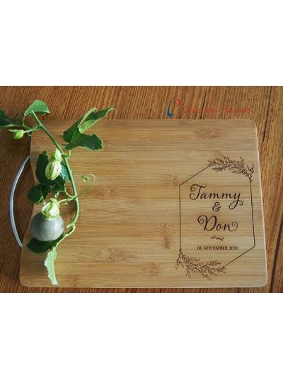 Personalised Engraved Bamboo rectangular serving board-cutting board-S/S handle- Wedding gift -Anniversary gift- Gift for couple-Leaf design