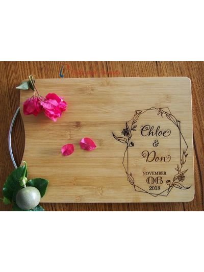 Personalised Engraved Bamboo cheese board-cutting board-S/S handle- Wedding gift -Anniversary gift-Gift for the couple- Flower & leaf design