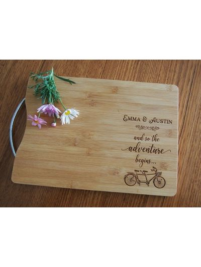 Personalised Engraved Bamboo rectangular chopping board with stainless steel handle - 35x25x1.5cm - Design 4 - Wedding Gift - Anniversary Gift - Engagement Gift - Gift for Couple - and so the adventure begins... -  bicycle