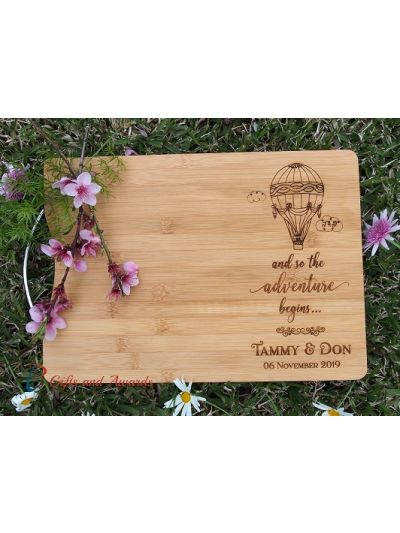 Personalised Engraved Bamboo rectangular chopping board with stainless steel handle - 35x25x1.5cm - Design 6 - Wedding Gift - Anniversary Gift - Engagement Gift - Gift for Couple - and so the adventure begins... - Hot air balloon