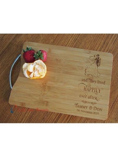 Personalised Engraved Bamboo rectangular chopping board with stainless steel handle - 35x25x1.5cm - Design 7 - Wedding Gift - Anniversary Gift - Gift for the Couple - and they lived happily ever after (bride & groom image)