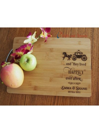 Personalised Engraved Bamboo rectangular chopping board with stainless steel handle - 35x25x1.5cm - Wedding Gift - Anniversary Gift - Gift for the Couple - and they lived happily ever after (horse carriage image)