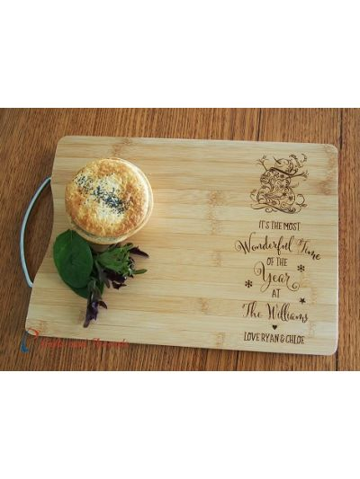 Personalized Bamboo engraved rectangle cutting board S/S handle - Christmas gift for family- It's the most wonderful time...